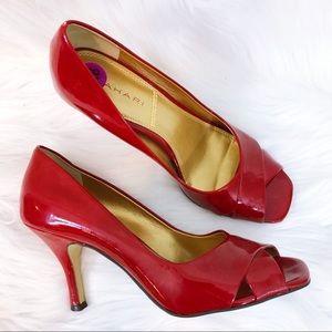 Tahari red resa criss cross patent heels